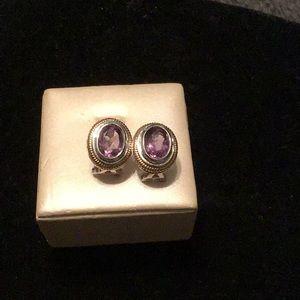 Jewelry - BEAUTIFUL! -14 K & STERLING  AMETHYST EARRINGS.